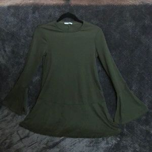 Zara TRF bell sleeve olive green dress!